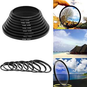 8 pcs Camera Lens Filter Step Up Lens Filter Ring Adapter Set - Black