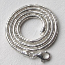 Italian Solid Sterling Silver 3mm Snake Chain Necklace, Length 20""