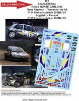 DECALS 1/18 REF 0251 RENAULT CLIO MAXI BUGALSKI RALLYE MONTE CARLO 1995 RALLY