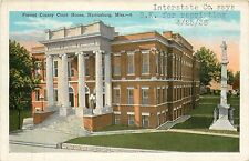 Mississippi, Ms, Hattiesburg, Forrest County Court House 1920's Postcard