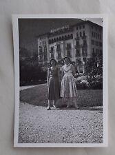 c1955 B/W Photograph. Two Ladies Outside the Beau Rivage Hotel, Lugano. Swiss