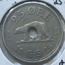 1926 Greenland 25 Ore - Holed As Issued