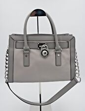 NWT MICHAEL Michael Kors Hamilton Gray Frame Out Two-Tone Leather Satchel Bag