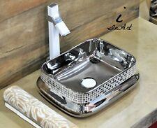 Bathroom vessel sink above counter ceramic porcelain wash basin Silver Finish 98