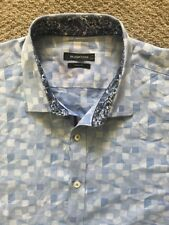 Bugatchi Men's Shaped Fit Blue Flip Cuff Short Sleeve Shirt - 3XL