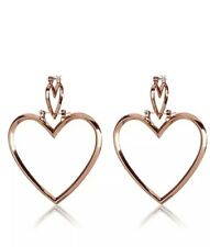 REDUCED   Women's Big Hollow Double Heart Earrings Hoop Dangle Rose Gold