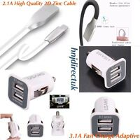 Apple iPhone 6,7, 6&7 Plus 5/5S/5C Fast Charge Car Charger + 8-Pin 3D Zinc Cable