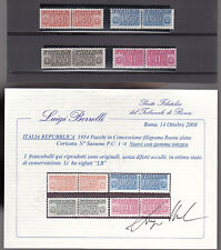 1954 ITALIA REPUBBLICA PACCHI CONCESSIONE FILIGRANA RUOTA 4 V. MNH** CERTIFICATO