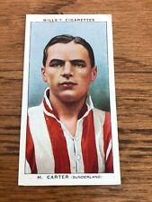 wills cigarette card - h.carter - sunderland
