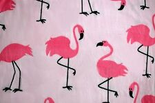 LARGE DARK PINK FLAMINGOS  ON LT PINK FLEECE ANTI PILL MATERIAL 2 YARDS 60X72""