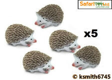Safari 5 x MINI HEDGEHOG solid plastic toy garden woodland animal cake top * NEW