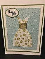 Lot of 6 Handmade Thank You Greeting Cards - Green Petals
