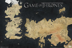 Game of Thrones Westeros Essos Map Poster 18x12 inch