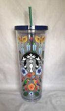 Starbucks Bird Bug Flower Tropical Nature Acrylic Cold Cup 24 Oz 2017 BPA Free