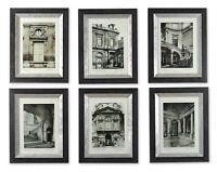 Paris Scenes Framed European Art Monotone Architecture Prints Wall Decor S/6