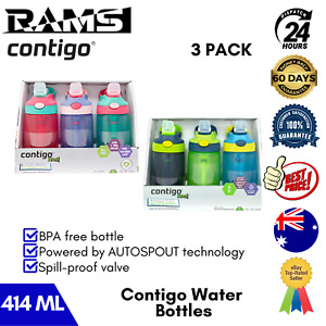 Contigo Kids Water Bottle Autospout Leak Spill Proof Valve Tethered Straw 3 Pack