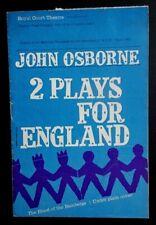 2 Plays For England programme Royal Court Theatre 1962 John Osborne Two