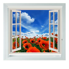 Window Red Poppy Field Printed Photo Black Out Roller Blinds 2345ft