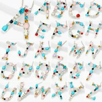 26 Letters Colorful Crystal A-Z Alphabet Women Necklace Pendant Chain Jewelry