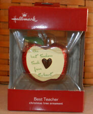 Hallmark Christmas Ornament Best Teacher Apple Red Box