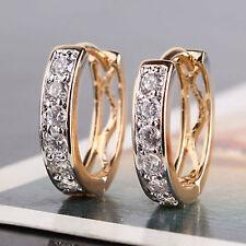 18K GOLD Plated Huggie Small Half Band Cz/Diamante/Crystal Huggie Hoop Earrings