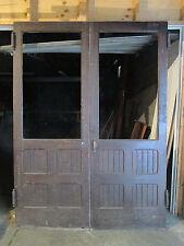 ~ ANTIQUE OAK DOUBLE ENTRANCE FRENCH DOORS 71 x 97 ~ ARCHITECTURAL SALVAGE ~