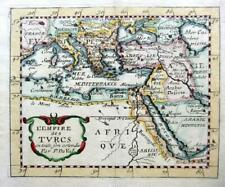 TURKEY EMPIRE  & THE COAT OF ARMS BY PIERRE DU VAL c1670 GENUINE ANTIQUE MAP