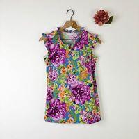 SUSAN GRAVER Women's Henley Top Sleeveless Liquid Knit Floral XS $49