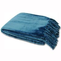 Riva Paoletti Dorset Throw - Super Soft Thick Velvet Feel - Fringed Knot
