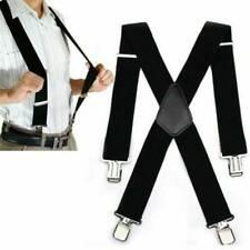 Mens Black X-Back Clip-on Suspenders Adjustable Elastic Retro Formal Braces