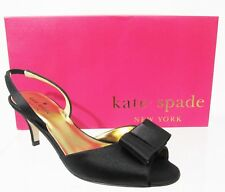 Kate Spade Emelia Black Satin Sling Back Kitten Heal Shoes Sz 6 New