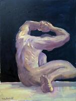 "Nude Male Man Art Figure Original Oil Painting, 18""x24"" Signed"
