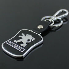 High Quality Black Leather Metal Alloy Car Logo KeyChain Key Ring For Peugeot