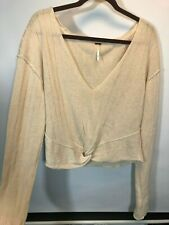 Free People Sweater Large Cream Got Me Twisted Front Knit Ivory