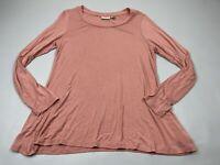 LOGO By LORI GOLDSTEIN Small S pink long sleeve tunic top shirt