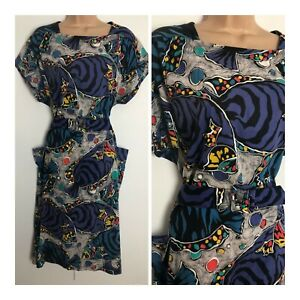 Vintage 80's French Blue Abstract Fish Print Button Back Belted Cotton Dress 18