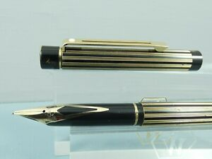 """Vintage Sheaffer Targa 675s Regency Stripe Fountain Pen, GT, M 14K Nib """"Ex Cond"""""""