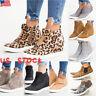 Women Lady Hidden Heel Sneakers Trainer Casual Slip On Zipper Loafer Pumps Shoes