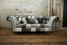 Sofa with 3 Seater Patchwork Unique Handmade - GREY/BEIGE