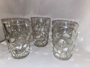 Set Of 3 Anchor Hocking Bubble Glass 5oz Flat Tumblers Straight Sides Clear