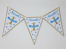 Personalised Glitter Gold Bunting Banner Babys First 1st Birthday Party Boy Girl