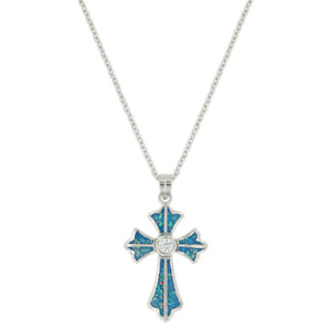 MONTANA SILVERSMITHS RIVER OF LIGHTS CROSS NECKLACE - ACCESSORIES JEWELRY NECKLA