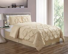 Double-Needle Stitch Pinch Pleat Goose Down Alt Ivory King Comforter Set Bedding