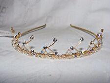 GORGEOUS PRONUPTIA  BRIDAL BRIDESMAID TIARA HEADBAND GOLD CRYSTAL