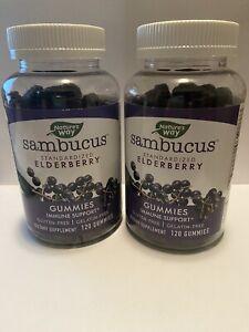 2 pack Nature's Way Sambucus Elderbrry Gummies Immune Spplmnt Vit C, Zinc 240 ct