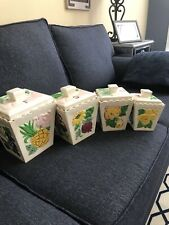 Highly Collectible And Rare Set Of Four Square Kitchen Canister Set