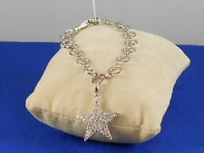 "Jewels by Park Lane Silvertone STARLIGHT Pave' Star Charm 7 1/2"" Bracelet"