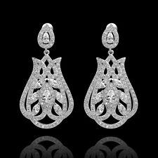 orecchini Placcato Oro Bianco ZIRCONIA CUBICA Filigrana Art Deco Sposa