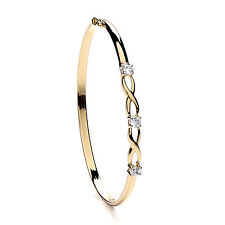 Bangle Yellow Gold Ladies Cubic Zirconia Hinged Bracelet