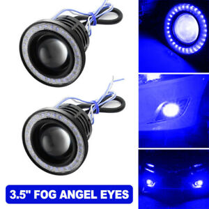 "3.5"" COB LED Projector Angel Eye Light Halo Ring Fog Driving Lamp Car Blue"